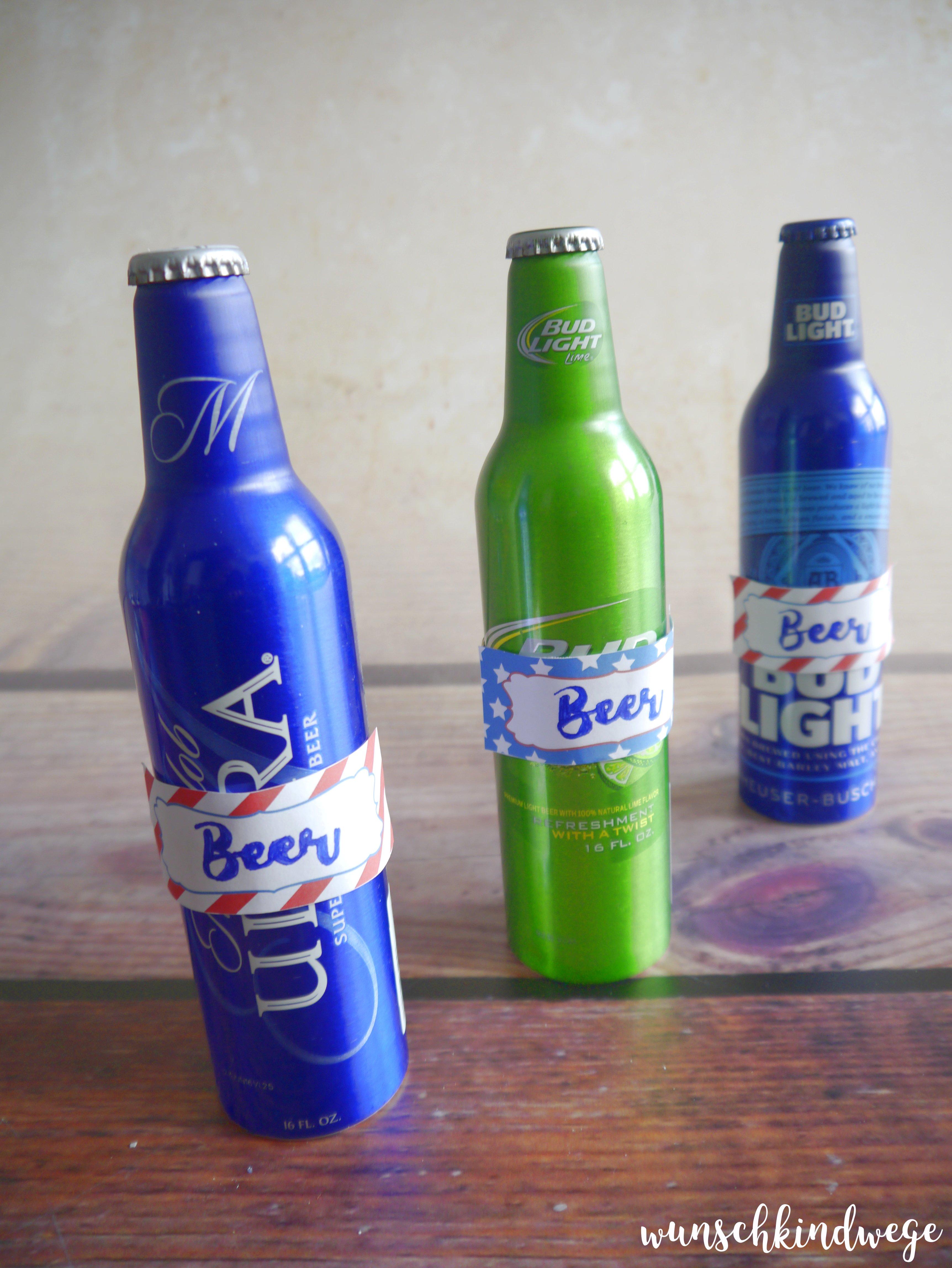 3 Flaschen importiertes US Bier USA Mottoparty