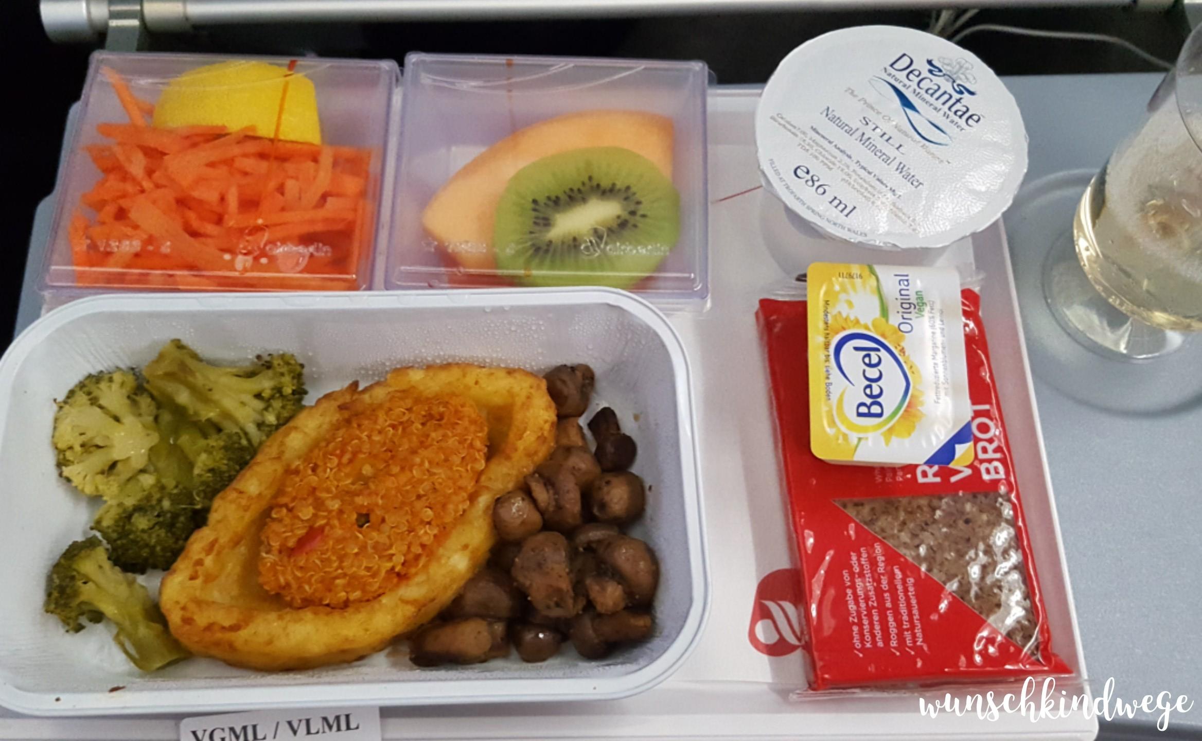 Florida mit Kindern: Mittagessen vegetarisch Air Berlin