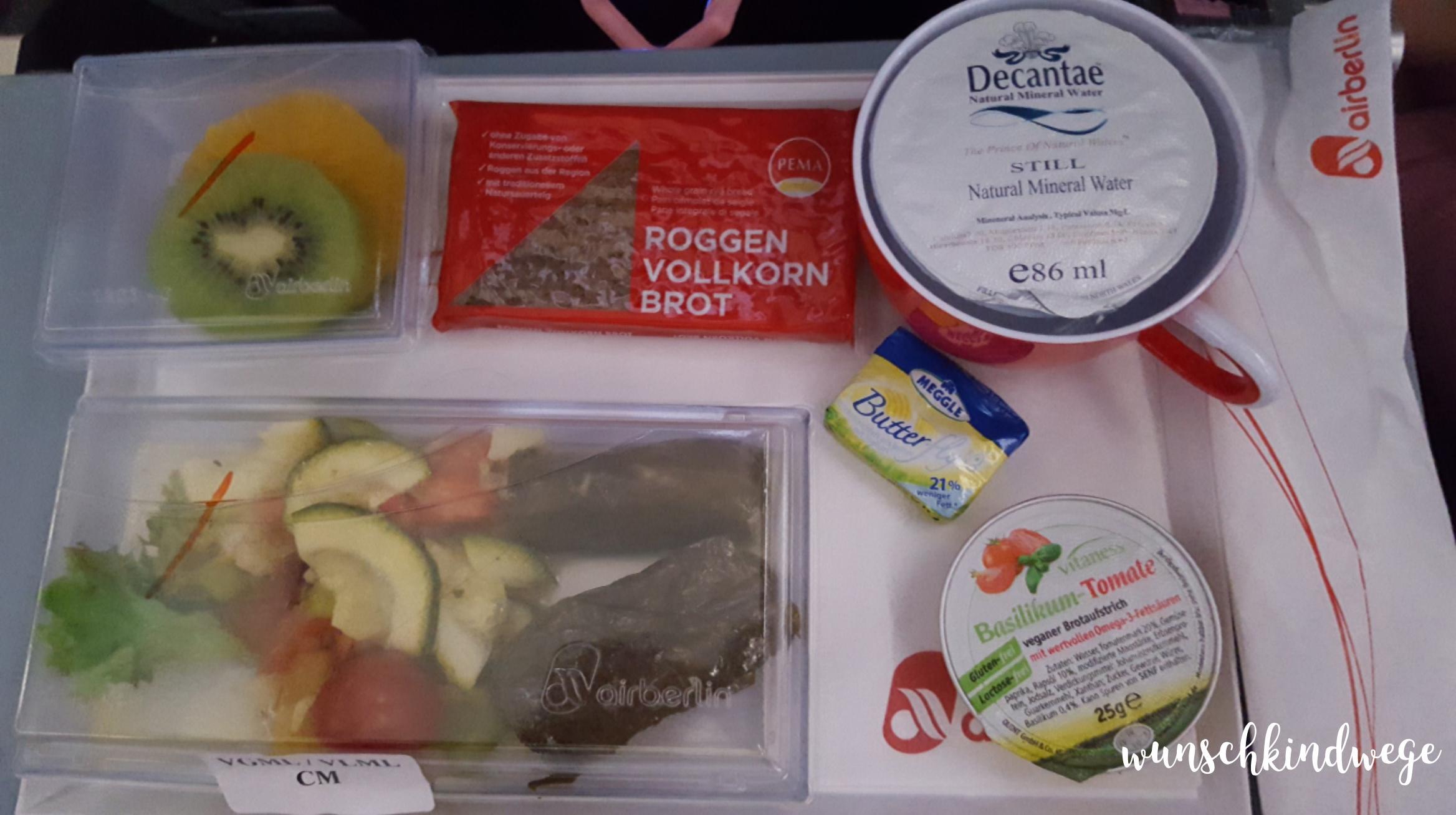 Florida mit Kindern: Air Berlin vegetarisches Abendessen