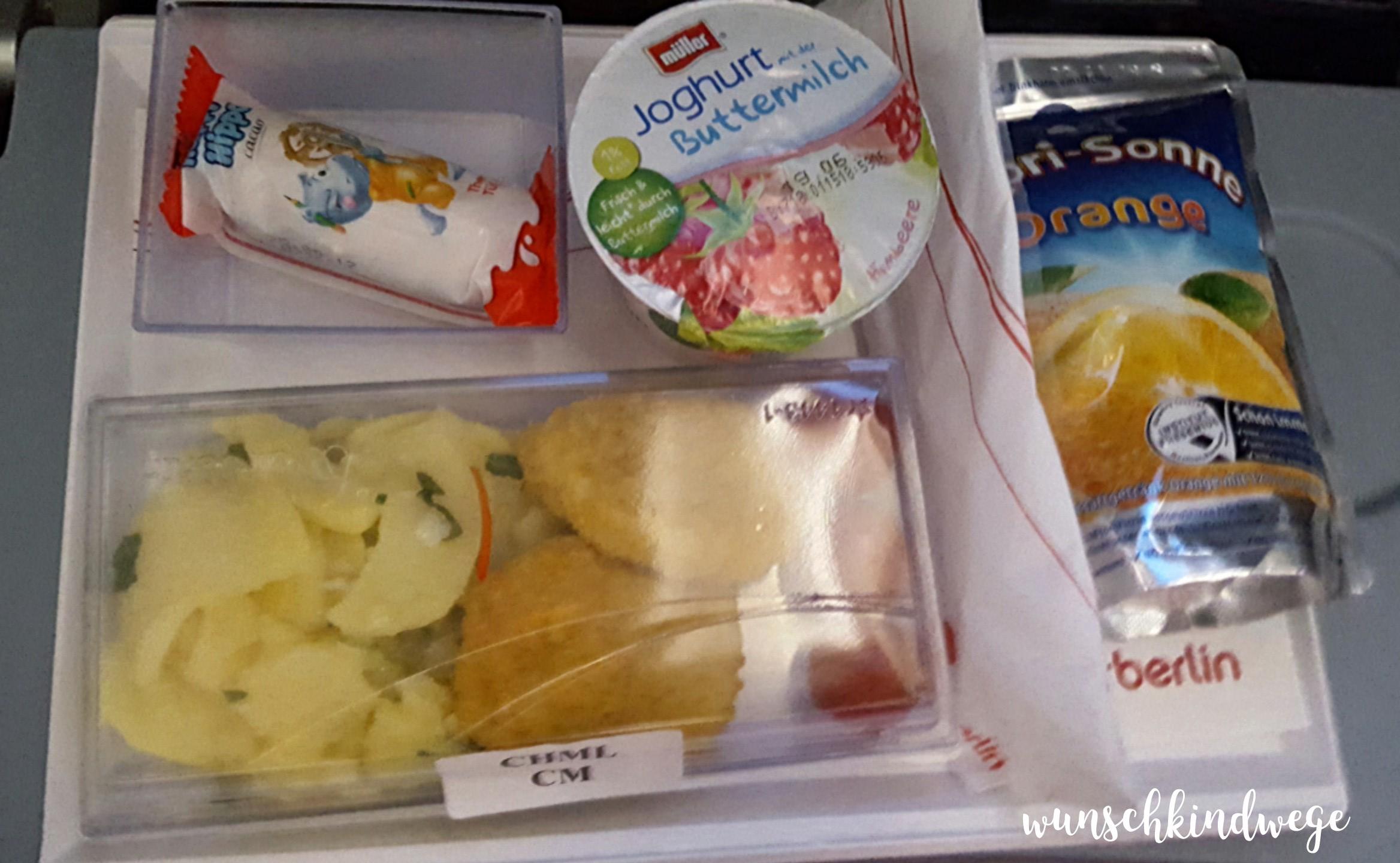 Florida mit Kindern: Air Berlin Kinderessen Abendessen