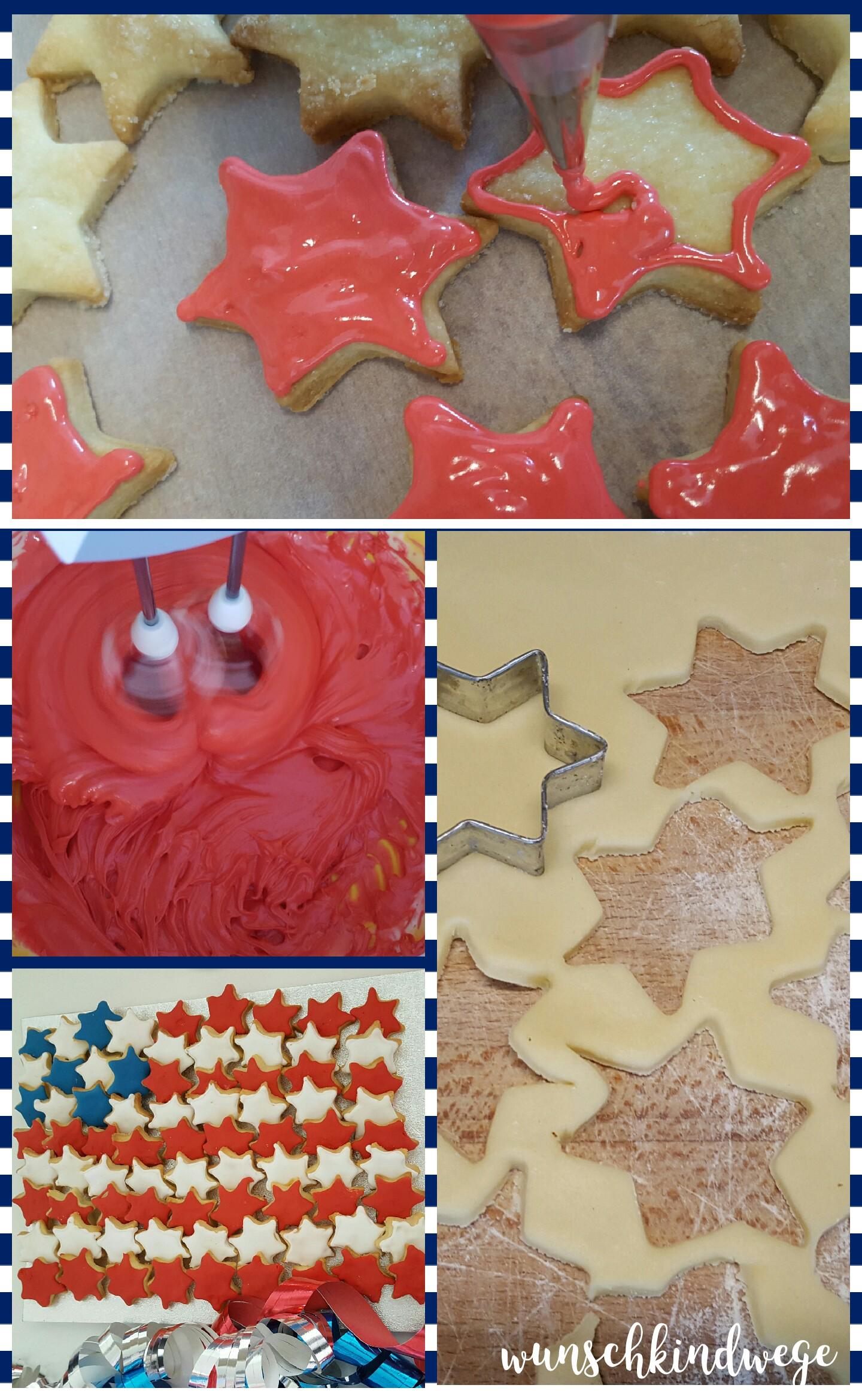 Schritt für Schritt Anleitung USA Flaggen Kekse