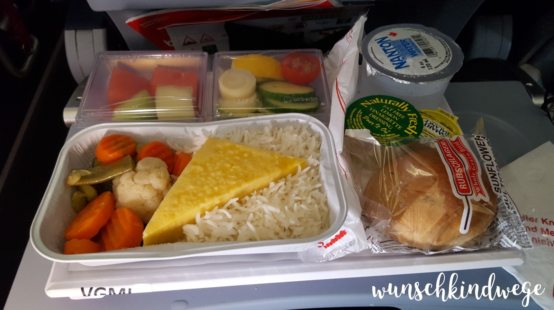 vegetarisches Flugzeugessen USA Florida Rückflug