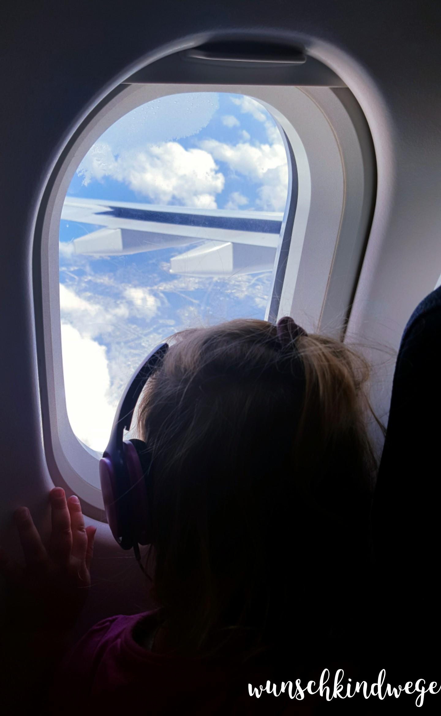 Florida mit Kindern: Baby guckt aus Flugzeug