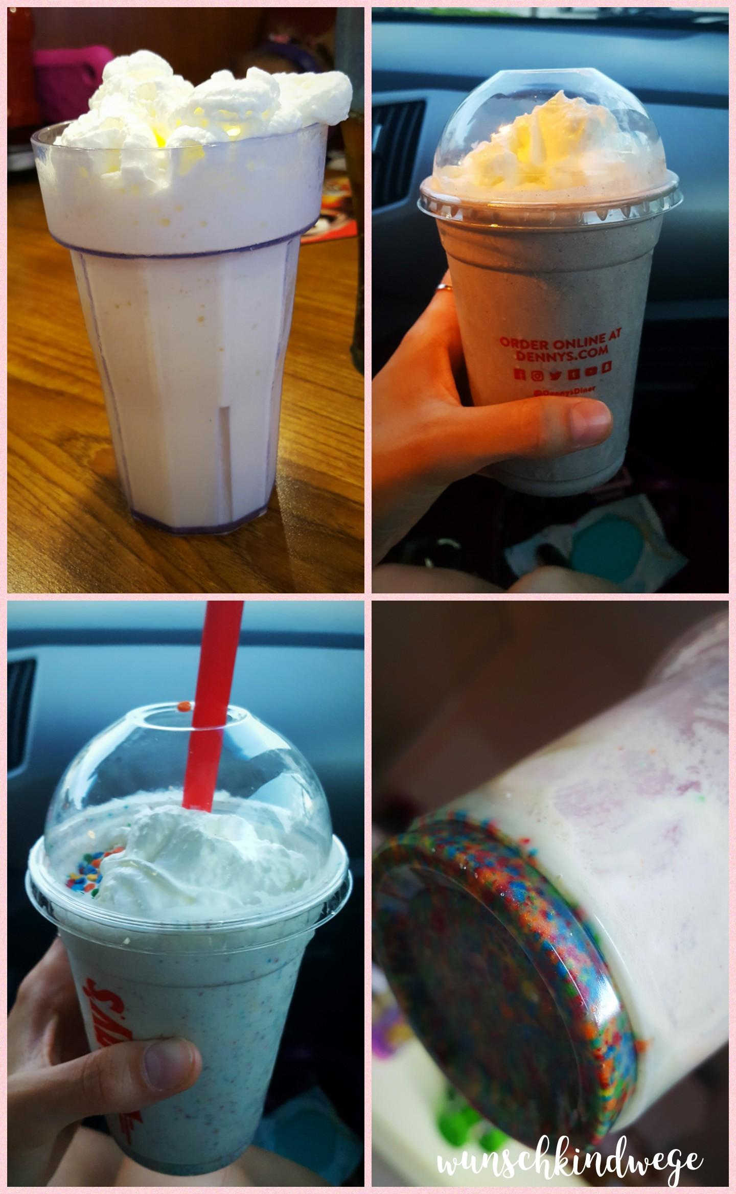 Florida Dennys Diner Cake Batter Milkshake, Oreo Milkshake, Vanilla jr. Milkshake