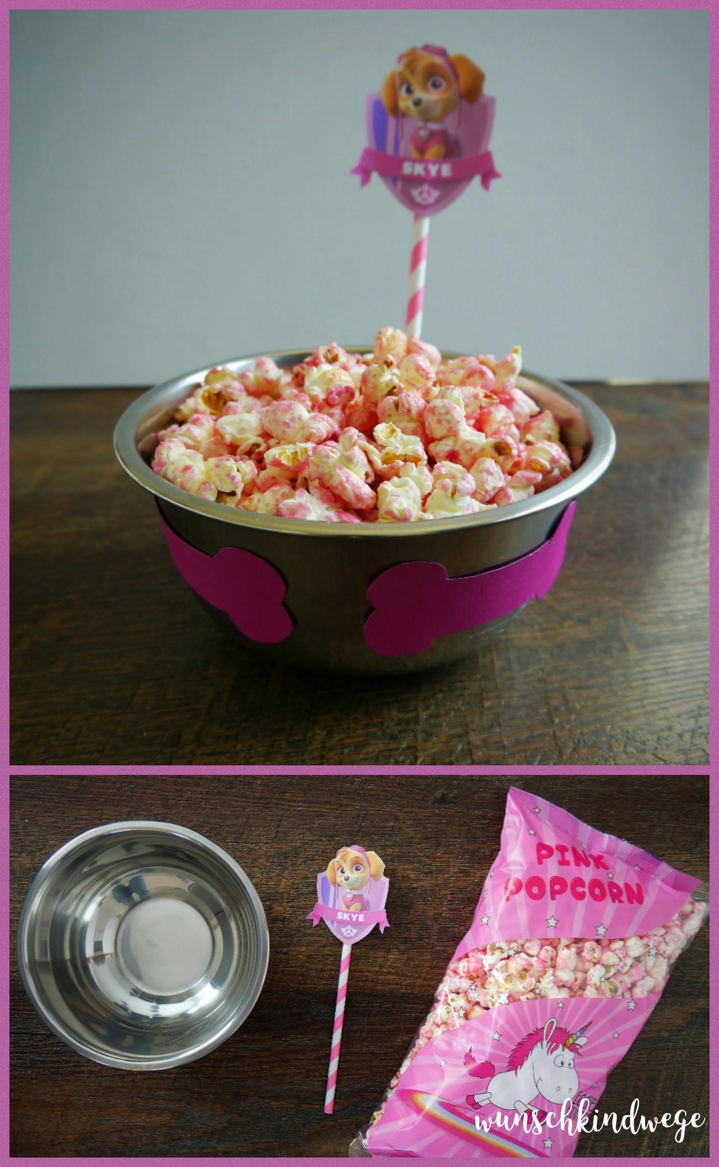 Paw Patrol Geburtstag - Skyes rosa Popcorn im Hundenapf