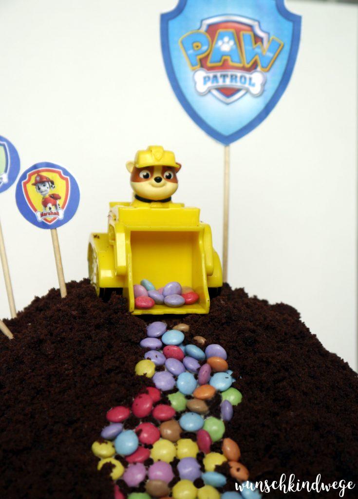 Paw Patrol Torte Maulwurfkuchen Mit Schaufelbagger Smarties