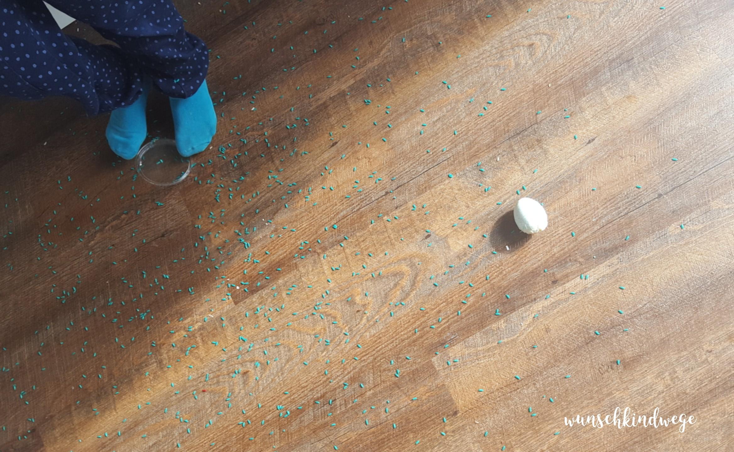 Osterwochenende in Bildern: Reis und Ei auf dem Boden