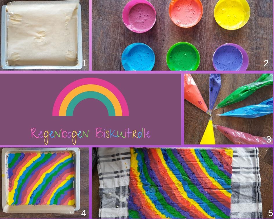 Regenbogen Biskuitrolle Zubereitung