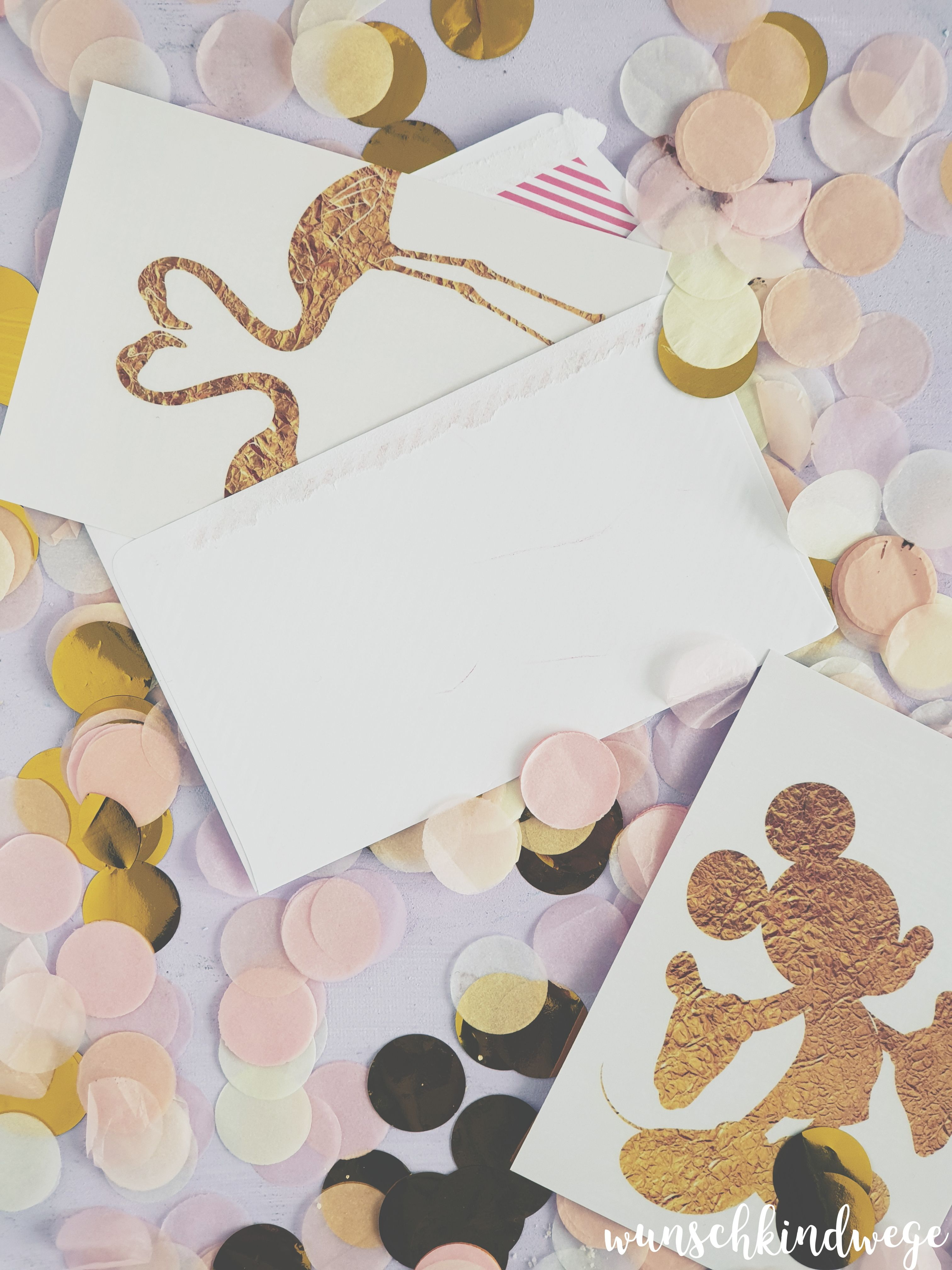 Mickey Maus und Flamingo Postkarte