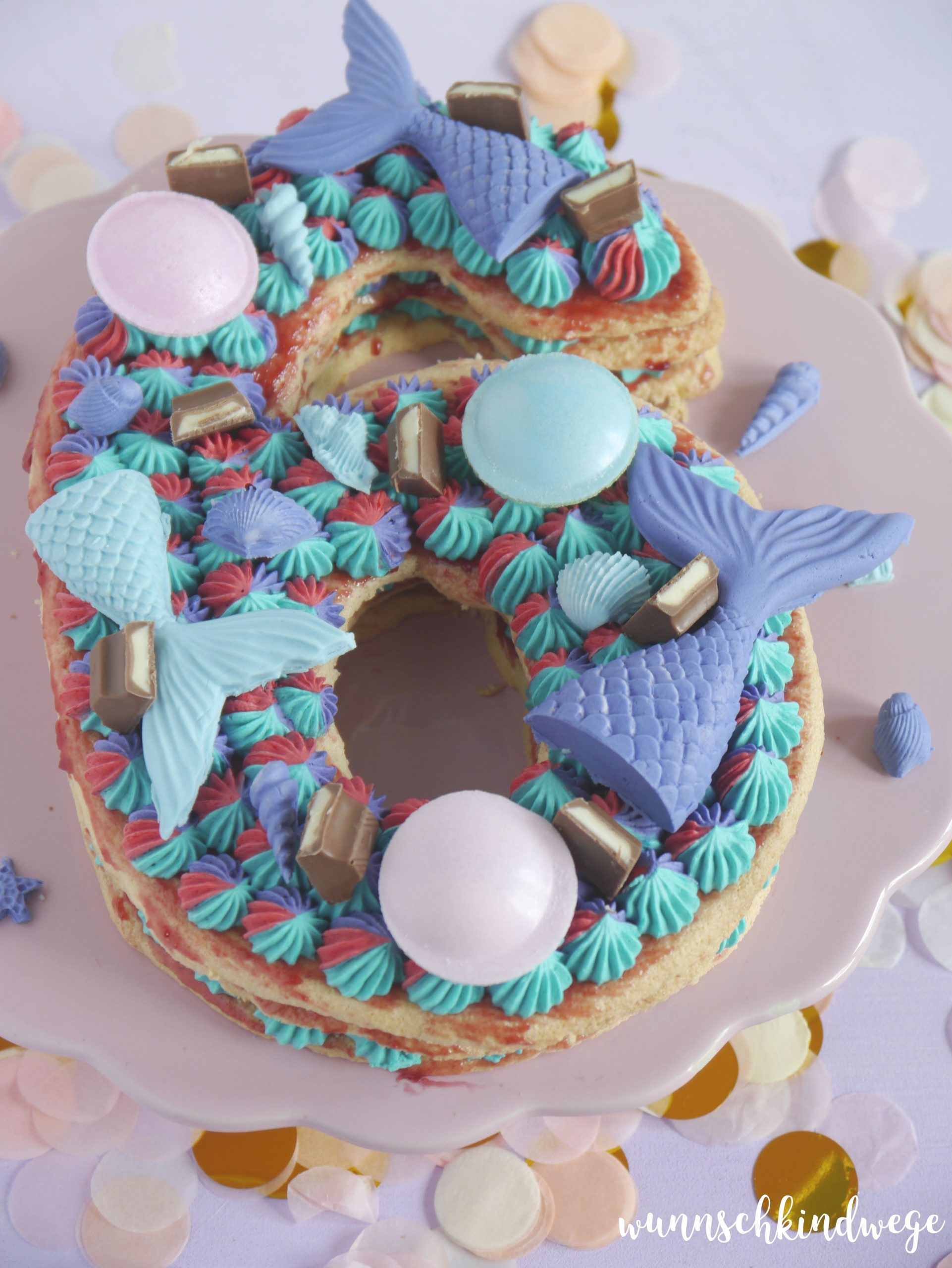Number Cake 6 Kinder lila Meerjungfrau türkis
