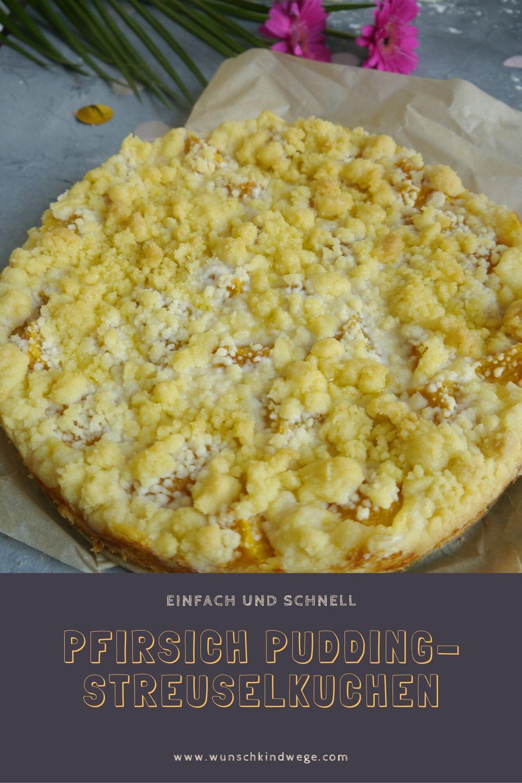 Pfirsich Pudding-Streuselkuchen
