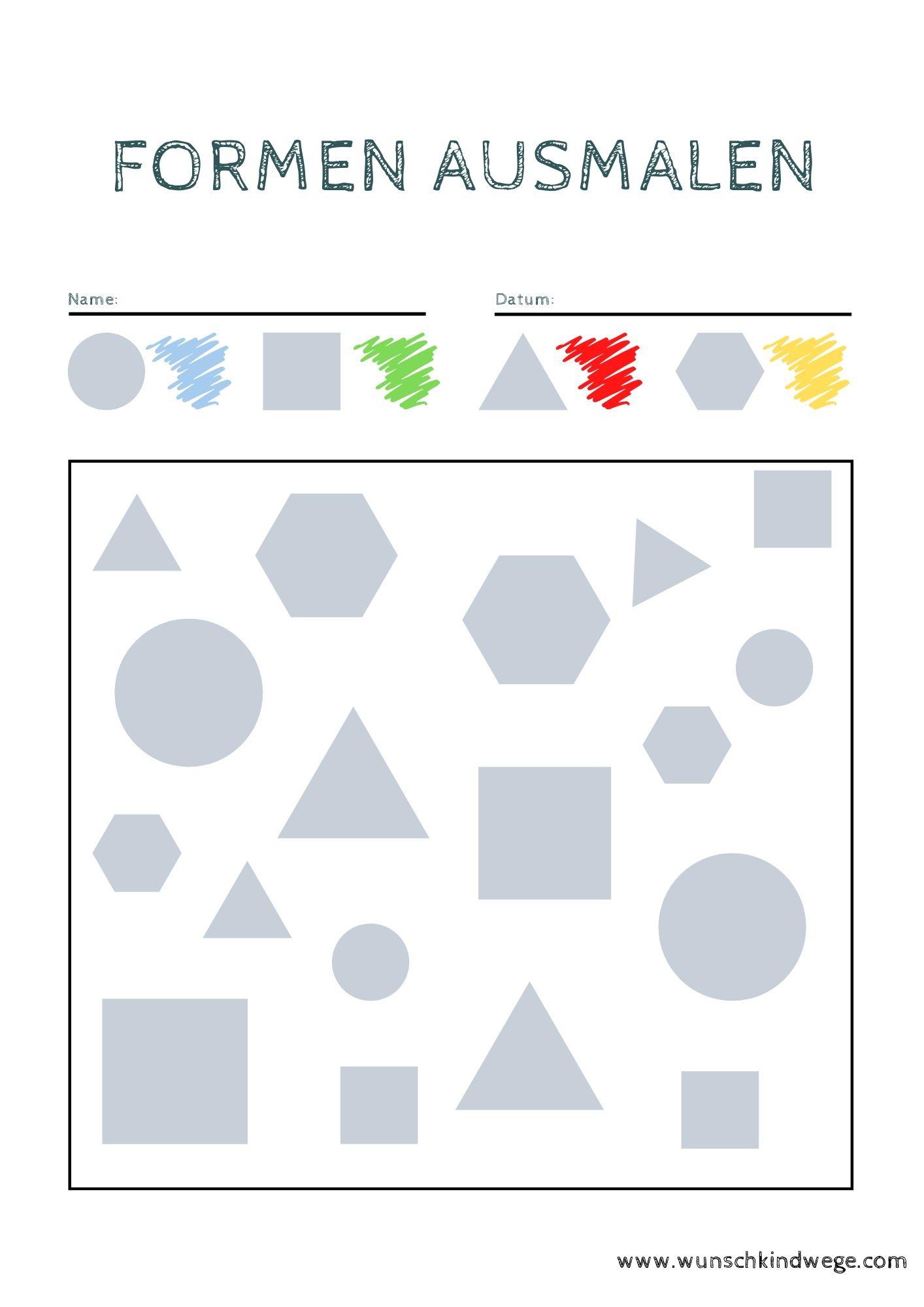 Formen ausmalen Übungsblätter Kindergarten