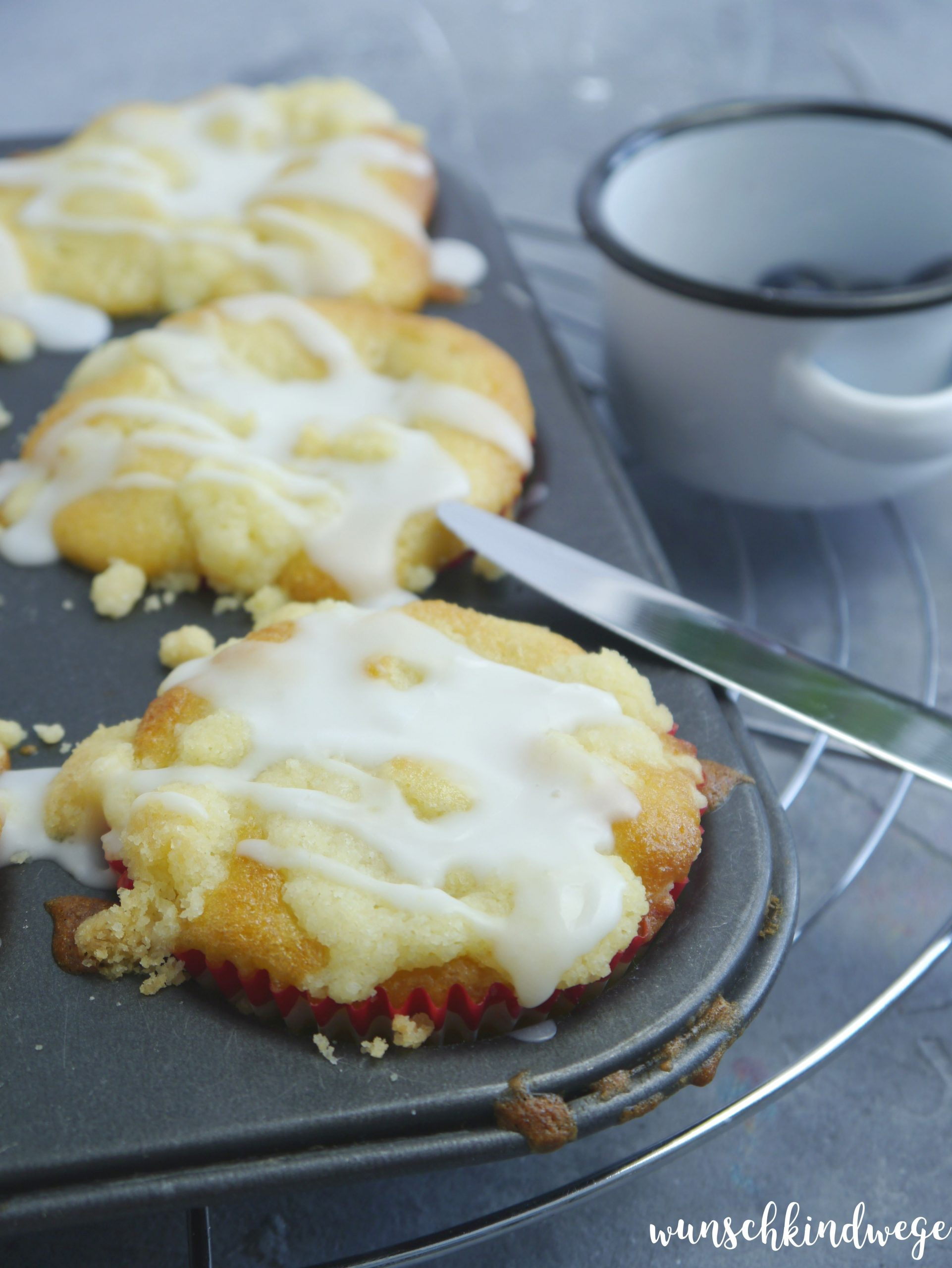 Streuselmuffins Zuckerguss